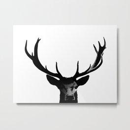 Black Deer Silhouette A273 Metal Print