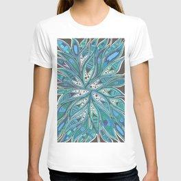 Aqua Abstract Patterned Drawing T-shirt