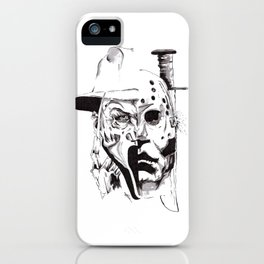 80's Horror Icons Inktober Drawing iPhone Case