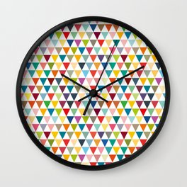 Colorful and tiny geometric triangles Wall Clock