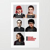 Banned Books Mugshots (White) Art Print