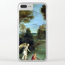 Domenichino Landscape with Tobias Laying Hold of the Fish Clear iPhone Case