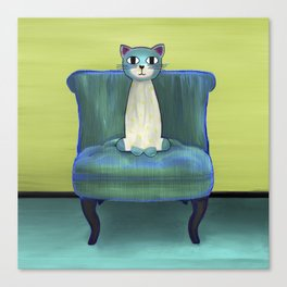 Elegant Cat green Canvas Print