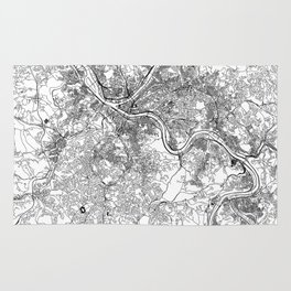 Pittsburgh White Map Rug