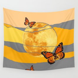 MOON & MONARCH BUTTERFLIES DESERT SKY ABSTRACT ART Wall Tapestry