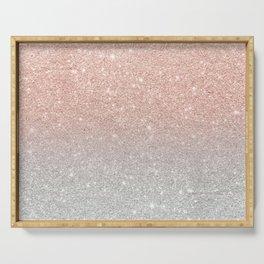 Modern trendy rose gold glitter ombre silver glitter Serving Tray