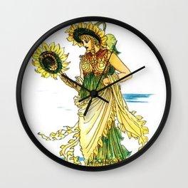 Vintage Sunflower Lady Goddess Wall Clock