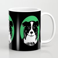 border collie Mugs featuring Border Collie Printmaking Art by Artist Abigail
