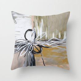 Abstract art in bronze, silver, black Throw Pillow