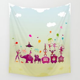 colorful circus carnival traveling in one row during daylight Wall Tapestry