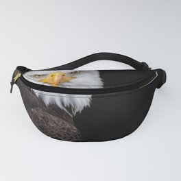 White Head Eagle with black background Fanny Pack