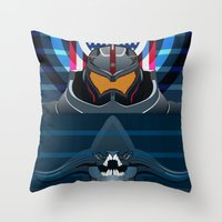 pacific rim Throw Pillows featuring Pacific Rim, Jaws edition by milanova