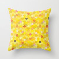 honeycomb Throw Pillows featuring Honeycomb by Nikky