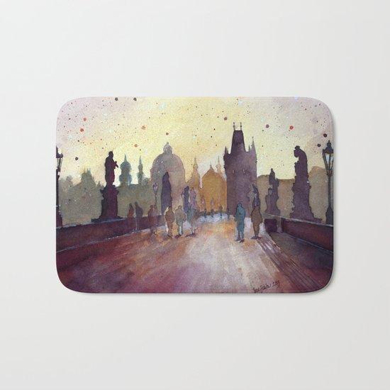 Prague, watercolor explorations in violet  Bath Mat