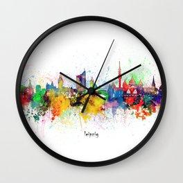 leipzig skyline artistic Wall Clock