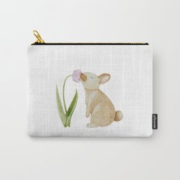 Bunny smelling a Tulip Carry-All Pouch