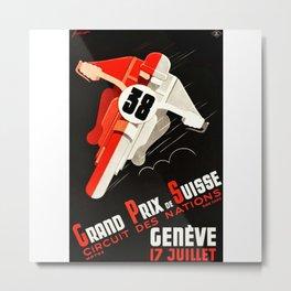 Grand Prix Suisse, Motorcycle Poster, Motorcycle Race, Vintage Poster Metal Print