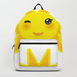 funny cartoon yellow sun smiling and winking eyes and pink cheeks, sun on white background Backpack