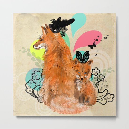 fancy foxes Metal Print