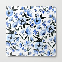 Blue & Black Flowers - Watercolor Pattern Metal Print