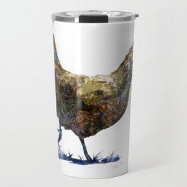 Ameraucana Hen in Stride - Chicken watercolor Painting Travel Mug