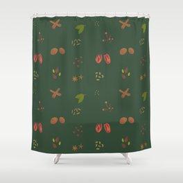 Sap Green Garam Masala Pattern Shower Curtain