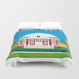 Charlottesville, Virginia - Skyline Illustration by Loose Petals Duvet Cover