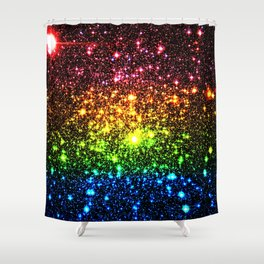 Rainbow Sparkle Galaxy Stars Shower Curtain
