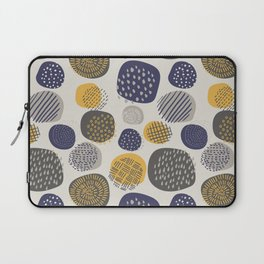 Abstract Circles in Mustard, Charcoal, and Navy Laptop Sleeve