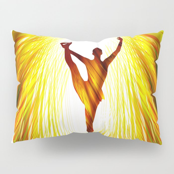 Ladies figure skating. Ballet dancer, ballerina. Winter sport ice rink Pillow Sham
