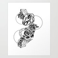 Dotwork skulls and roses with geometric shapes Art Print