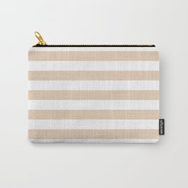 Narrow Horizontal Stripes - White and Pastel Brown Carry-All Pouch