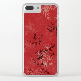 Red, Tan and Black Bamboo Design Clear iPhone Case