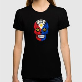 Sugar Skull with Roses and Flag of Philippines T-shirt