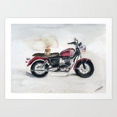 Mocha and Motorcycle Art Print