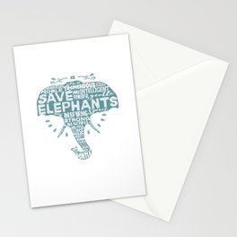 Save Elephants - Word Cloud Silhouette Stationery Cards