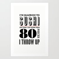 sushi Art Prints featuring Sushi by paperchatshop
