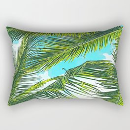 Life Under Palm Trees, Colorful Bohemian Beachy, Tropical Travel Nature Graphic Design Rectangular Pillow
