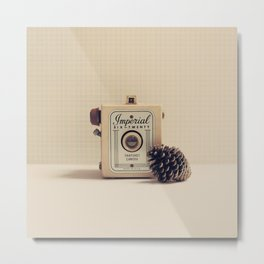 Retro Camera and Pine Cone Metal Print