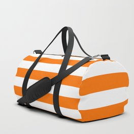 Bright Tumeric Orange and White Wide Horizontal Cabana Tent Stripe Duffle Bag