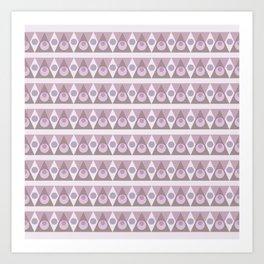 Geometric background pink pattern - circles, triangles, vector. Art Print