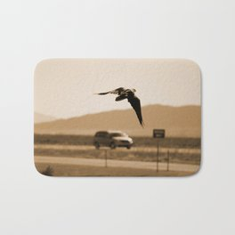 Raven Flying in Sepia Bath Mat
