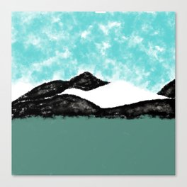 Artistic teal black white olive green watercolor mountain Canvas Print
