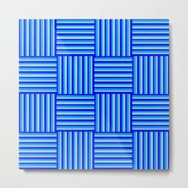 Havana Cabana - Blue Weave Stripe Metal Print