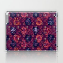 Lotus flower - fire on mulberry woodblock print style pattern Laptop & iPad Skin