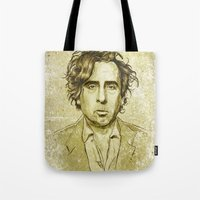 tim shumate Tote Bags featuring Tim Burton by Renato Cunha