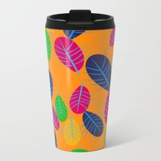 Fall Leaves Pop Pattern Design Metal Travel Mug
