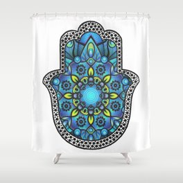Colorful Blue Hamsa Hand Shower Curtain