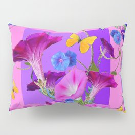 BUTTERFLIES & PURPLE-BLUE MORNING GLORY VINES  PINK VINETTE Pillow Sham