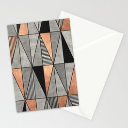 Concrete and Copper Triangles Stationery Cards